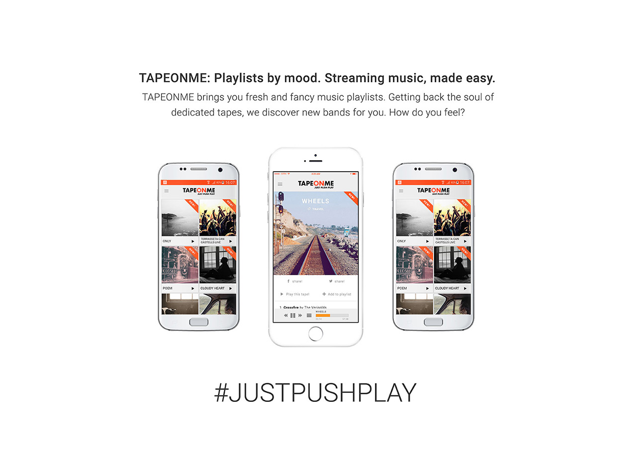 TapeOnMe: Playlists by mood. Streaming music, made easy.